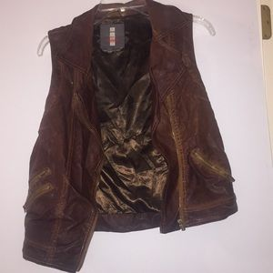 Jeans by Buffalo Brown Faux Leather Moto Vest